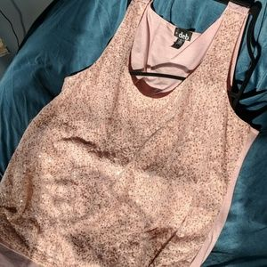 Pink lace and sequence tank top